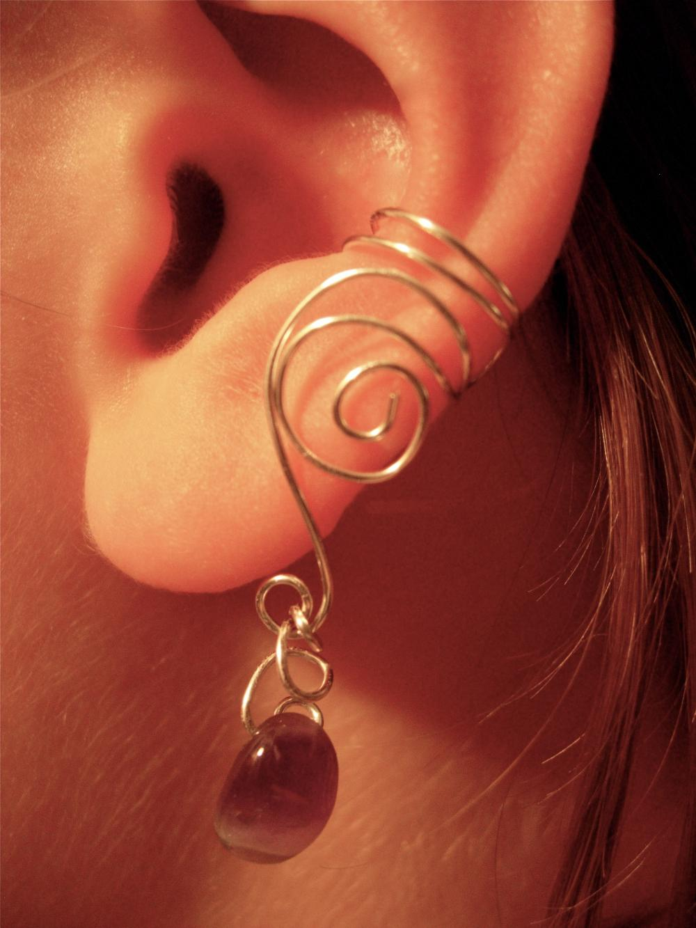 Pair of silver plated ear cuffs with genuine amethyst for Artistic accents genuine silver decoration