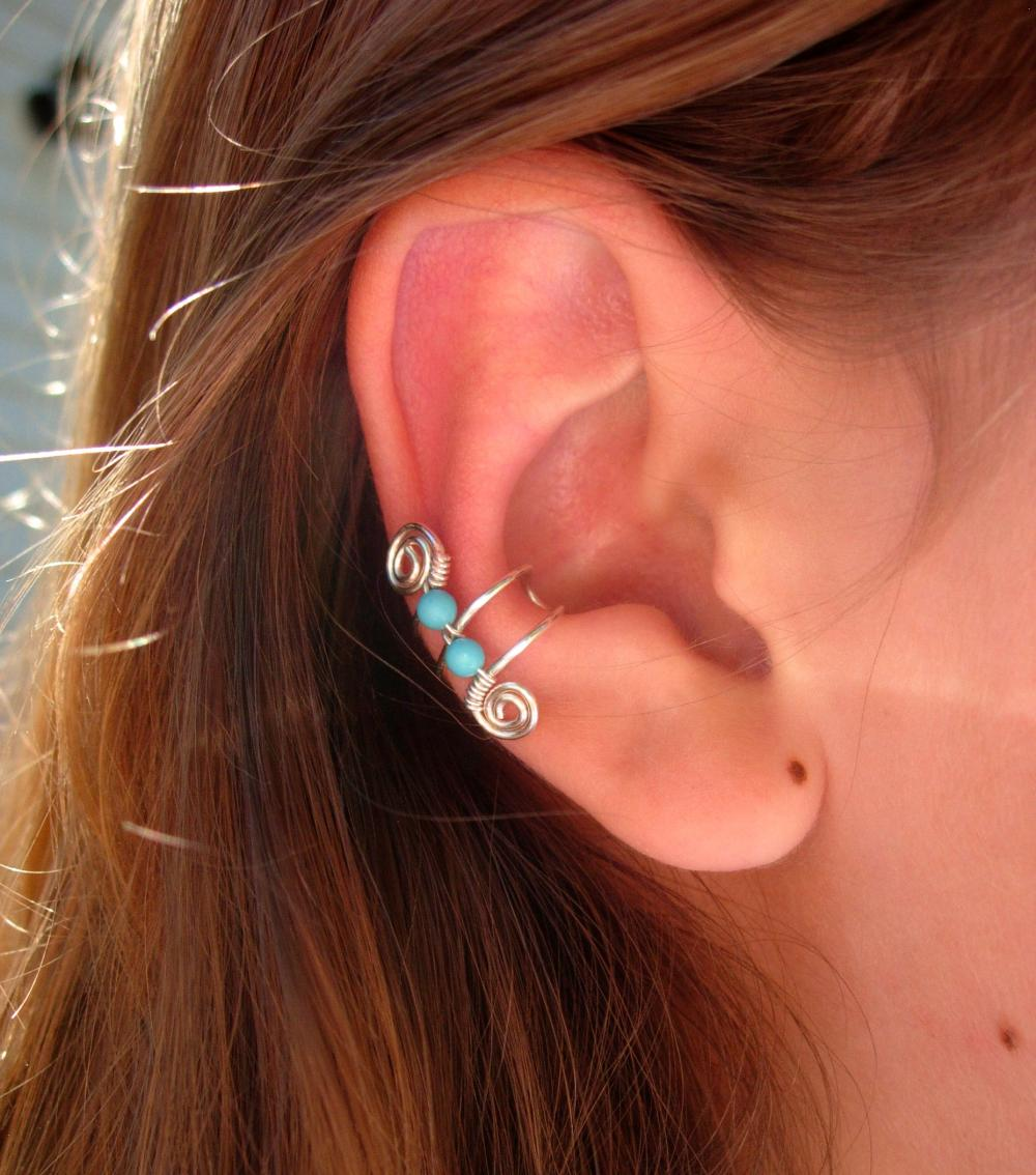 Single Silver Plated Ear Cuff With Double Turquoise 3mm