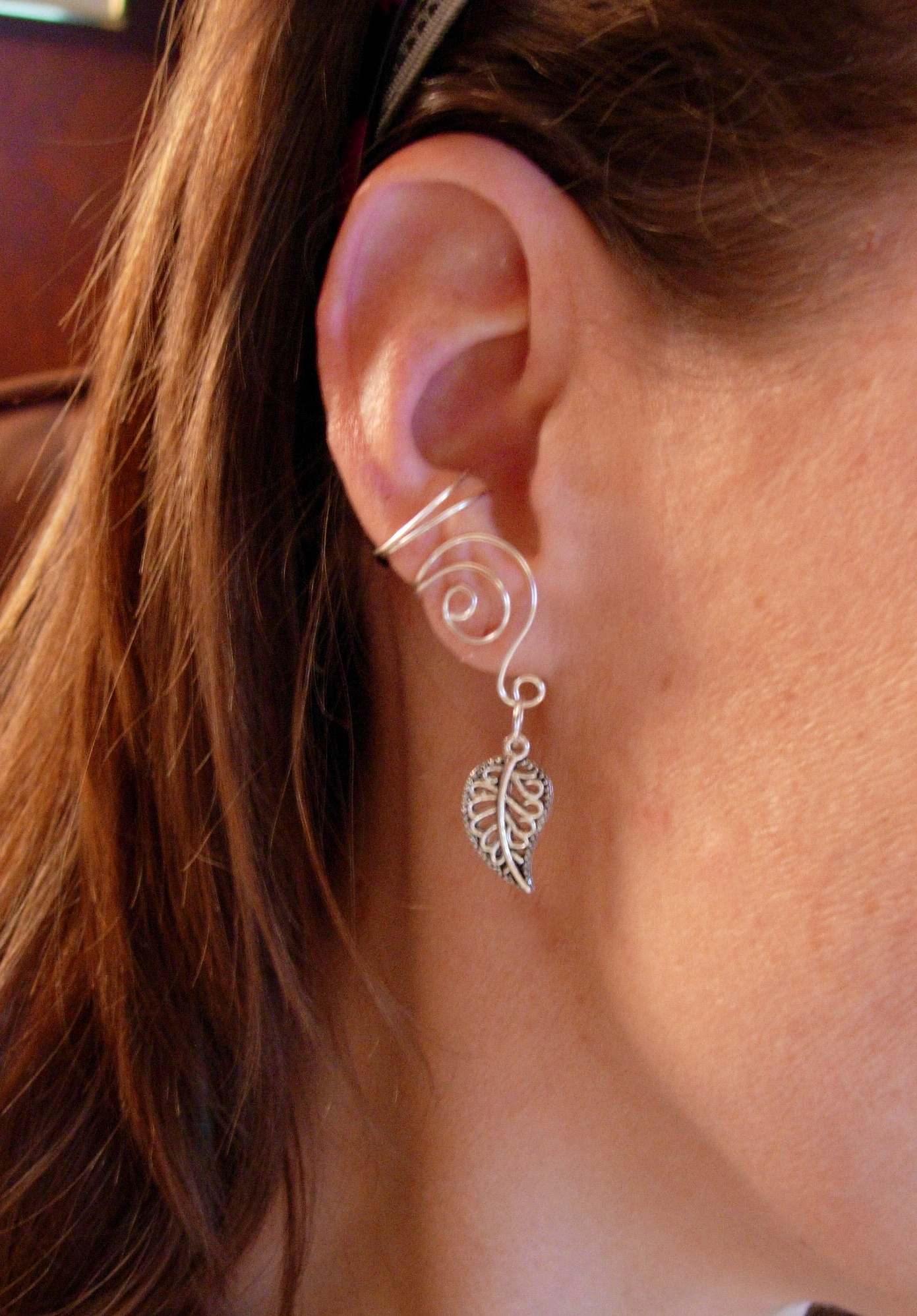 Pair Of Silver Plated Ear Cuffs With Antiqued Silver Leaf